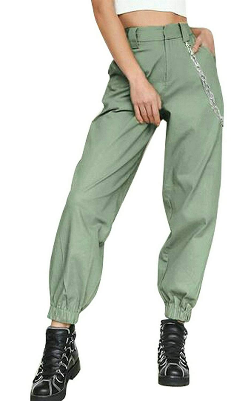 66a98d1a07 Get Quotations · Oberora-Women Stylish High Waist Solid Loose Wide Leg Pants  Jogger Pants Sweatpants
