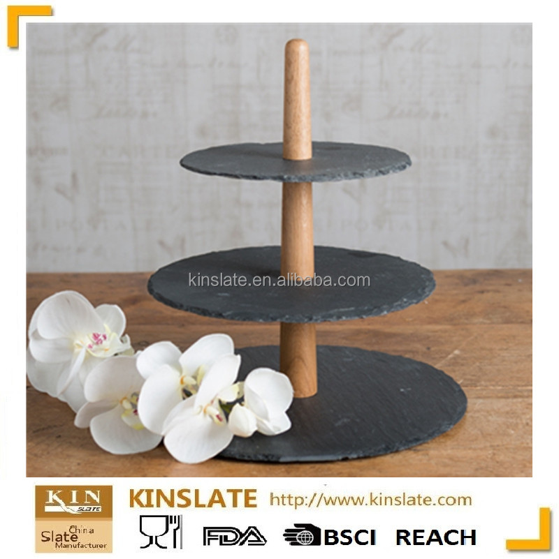 Party cake decoration Cake topper wooden stand 3 Tier Round Slate Cake Stand