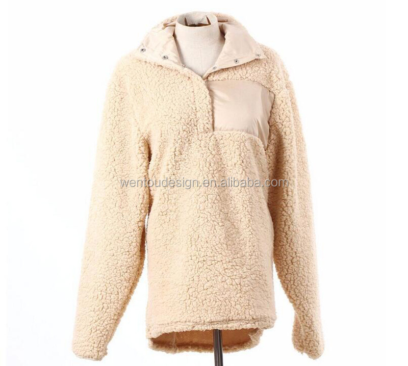 Wholesale Women Monogram Sherpa Fleece Pullover - Buy Sherpa ...