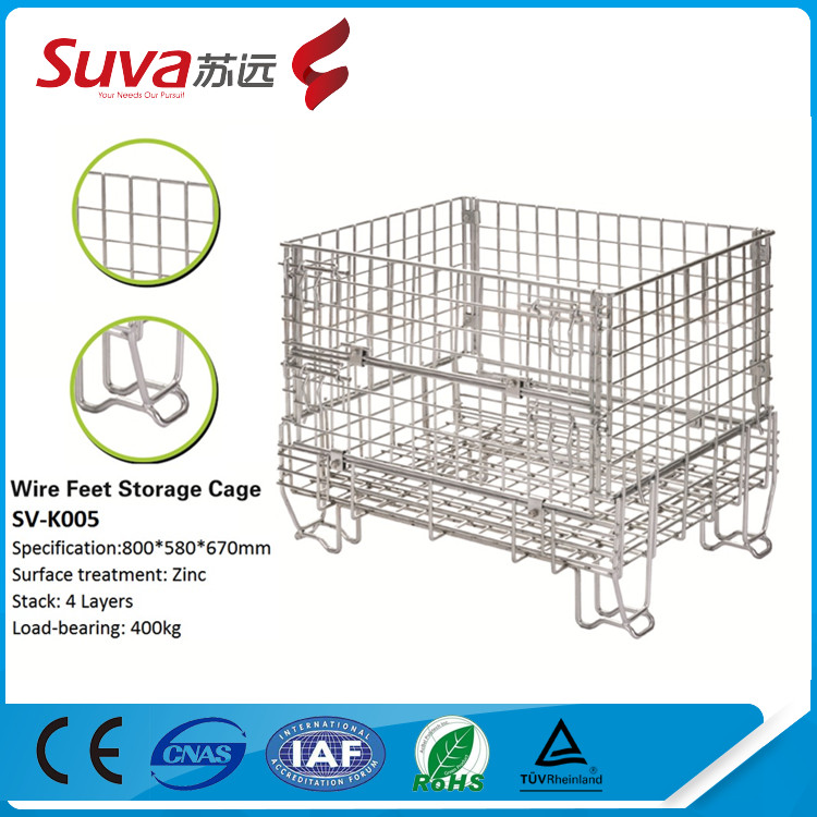 4-tier industrial stackable storage wire mesh containers large metal storage bins