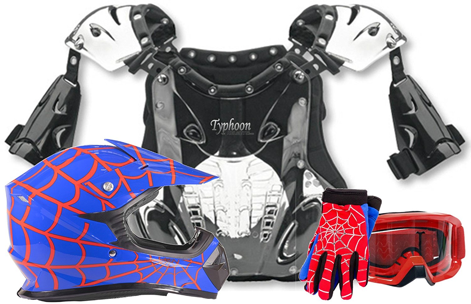 Youth Kids Chest Protector Helmets Blue SPIDERMAN Motocross Gloves Goggles Combo