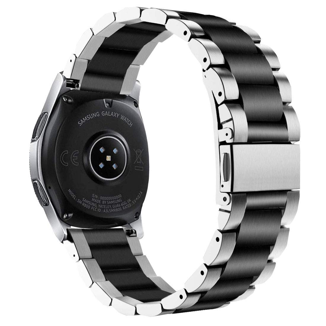 VIGOSS Compatible Galaxy Watch 46mm Band,Business Stainless Steel Solid Metal Watch Band for Samsung Galaxy Watch 46mm Smartwatch (46mm, Silver/Black)