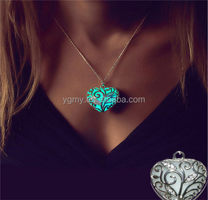 Luminous peach heart necklace Magical Aqua Blue Tree Heart Glow In Dark Pendant Necklace