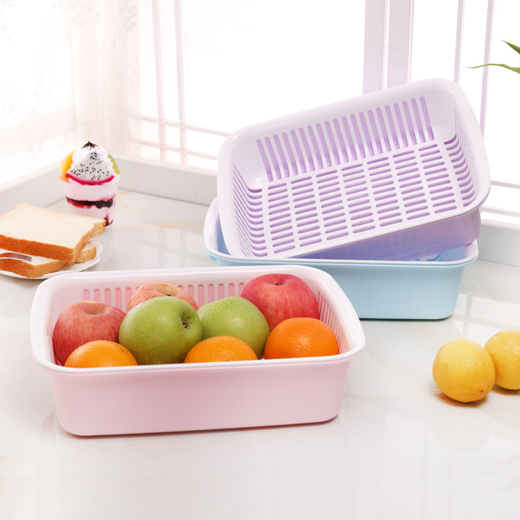 plastic square 2 tier dropping water vegetable fruit sink kitchen basket