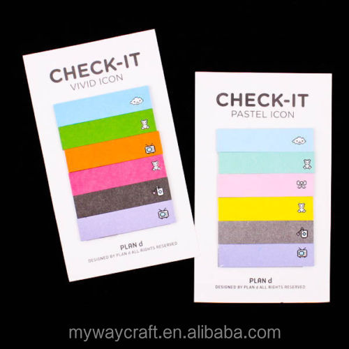 Retro Check Rainbow Sticker Marker Notes Bookmark Memo Pads
