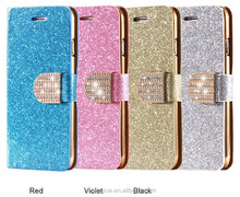 Luxury Magnetic Glitter Bling Crystal Diamond Leather Wallet Card Slot Case for iPhone 6/6s