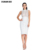 Hot Sexy Womens White Mesh Rivets Studded Sleeveless Bandage Club Dress