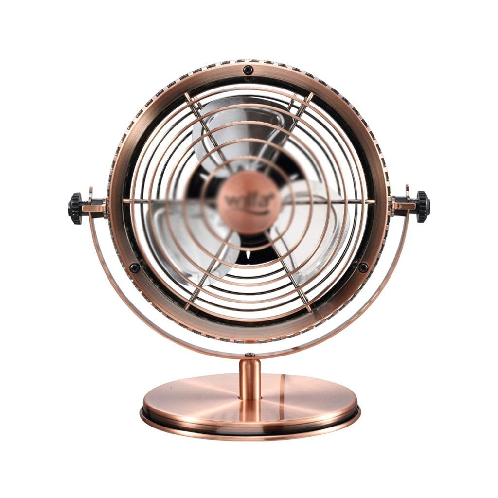 Xiao Hong Home Floor Fans Mini fan USB fan Desktop fan Portable desktop fan Household copper plated 6 inch silent rotating 135° fan (Color : Brown, Size : 6 inches)