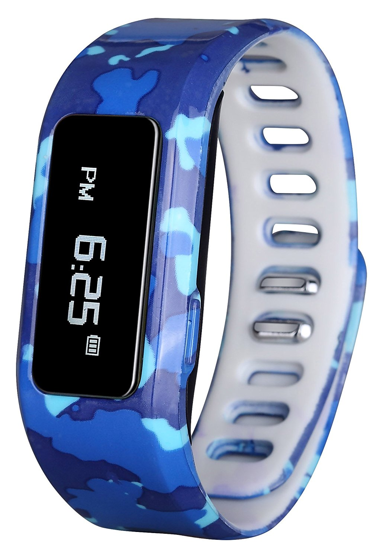 GabbaGoods GG-KAT-BCA Kids Fitness Watch Activity Tracker, Kids Smart Wristband Watch, Wireless (Activity Health Tracker) Wearable Printed Band Pedometers - Blue Camo