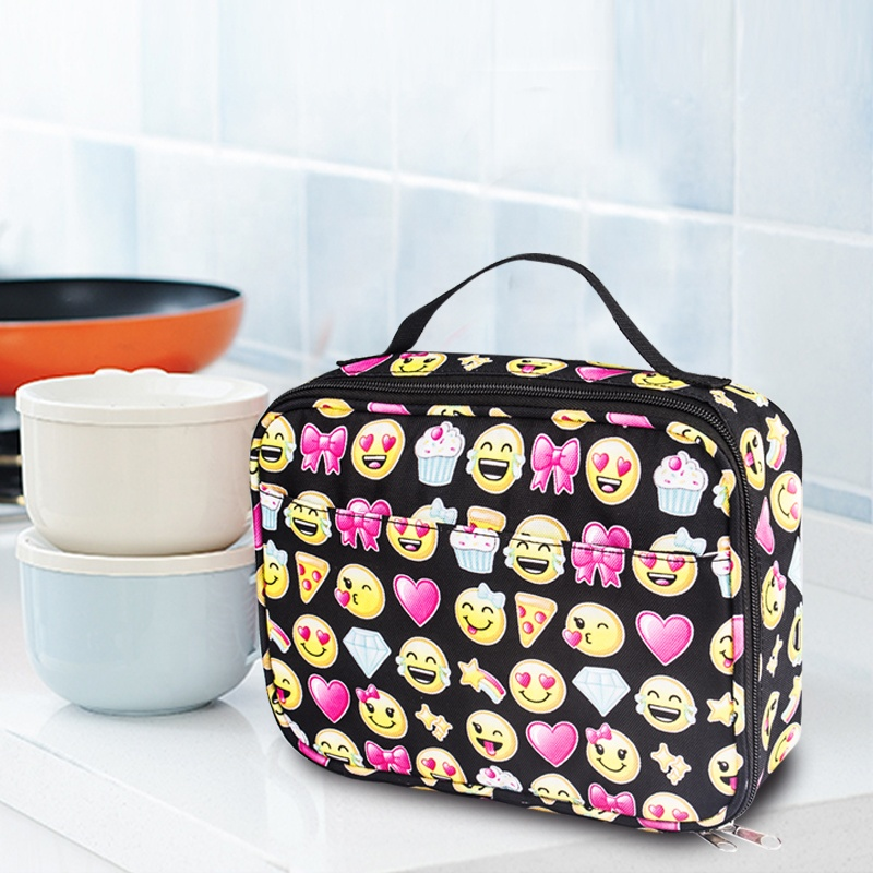 Smiling face School pack lunch box insulated cooler cartoon Large Multiple Functions Cooler Bags cool lunch bag