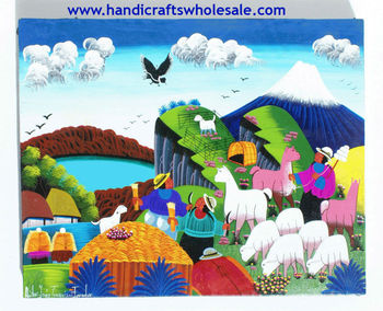 Große Tigua Indianer Kunst Gemälde Handgemalt Ethnische Stammes