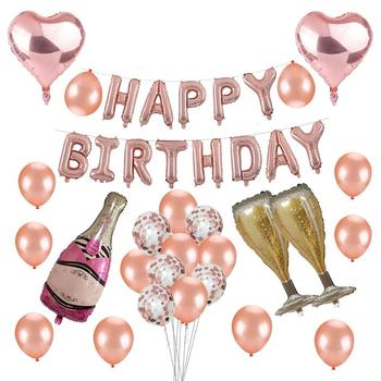 Birthday Party Decoration Rose Gold Heart Confetti Balloon Champagne Bottle And Cup HAPPY BIRTHDAY Banner Set