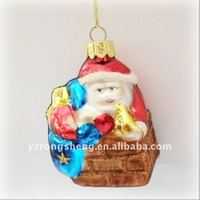 Glass Santa Claus with gift bag for Christmas day