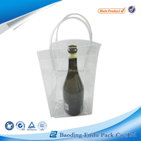 2016 Eco-friendly Colorful Pvc Beer Bottle Cooler Bag Plastic Pvc Ice Wine Bag