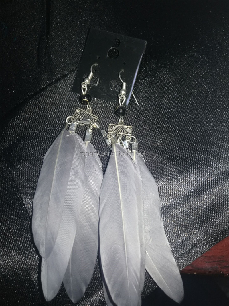 Vogue Silver Feather with silver chain dangle chandelier light Feather earrings
