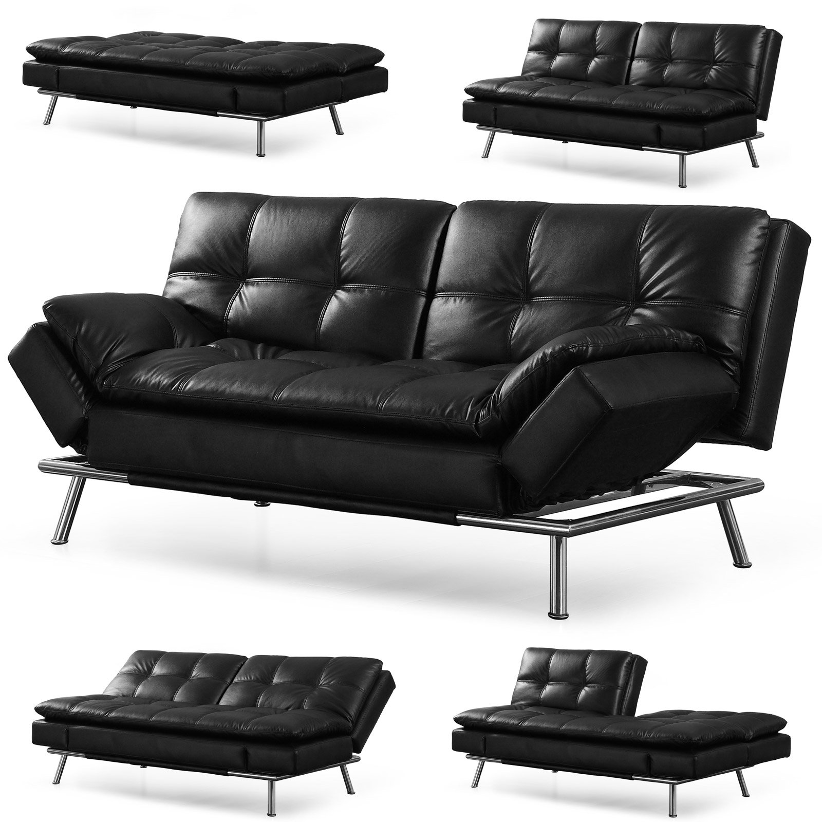 """Lifestyle Solutions CAMDMS3L10BK-B Matrix 79.5"""" Double Cushion 3 Seater Convertible Sofa with Faux Leather Upholstery in"""