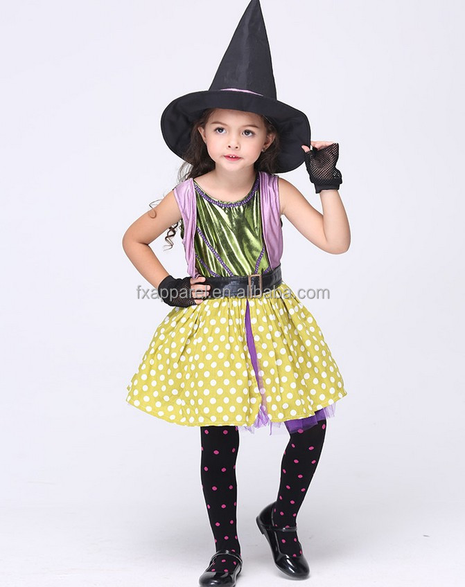 S-XL Little Girl Halloween Witch Costume with hat, dress,belt and gloves