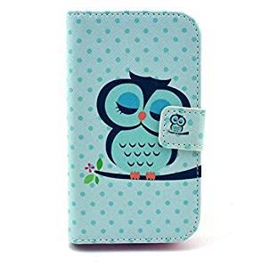 Noarks ® Premium Moto E Wallet Case - Wallet PU Leather Case Flip Cover Built-in Card Slots & Stand For Motorola Moto E (Owl Light Blue)