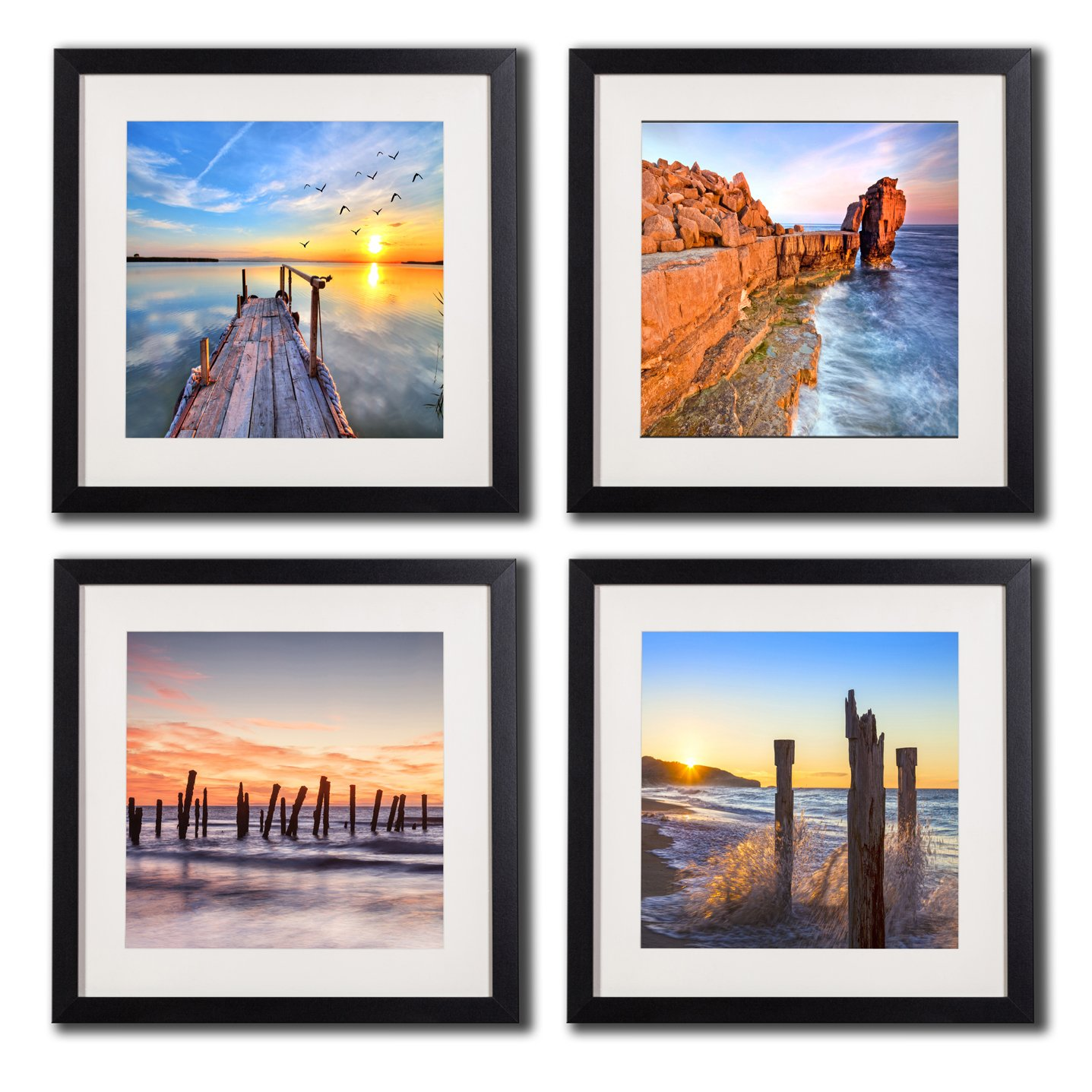 Seascape Canvas Prints Wall Art Photos Printed On Canvas Sunrise Paintings Beach Sunset Decor Seaview Artwork Poster Sea Pictures 4 Piece Black Frame White Matte Colorful Wall Decor Home Decorations