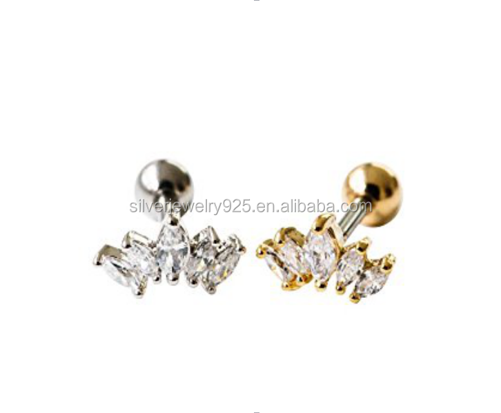 Cartilage ear studs earring tragus helix barbell Crystal Cubic Zirconia 5 Clear Cz Tragus helix tiara crown earring