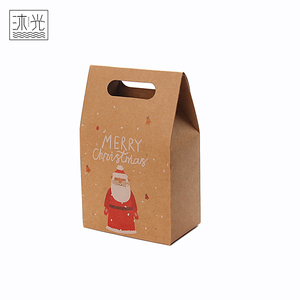 Wholesale Recycled Kraft Paper Christmas Santa Pattern Candy Christmas Gift Bags