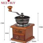 Vintage Style Hand Coffee Mill Burr Coffee Grinder with Ceramic Hand Crank Wooden Manual Coffee Grinder