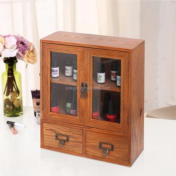 Mini Tabletop Wood Display Cabinet, Shadow Box With Glass Doors, 2 Shelves  U0026 2