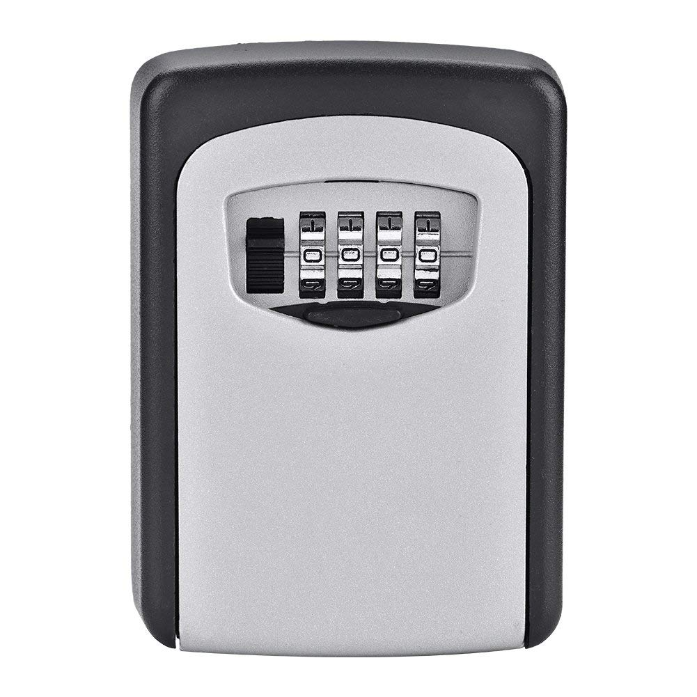 Key Safety Box 4-Digital Combination Resettable Key Cabinet High Strength Zinc Alloy Key Storage Box Wall Mount Safe Weather Resistance for Home and Office