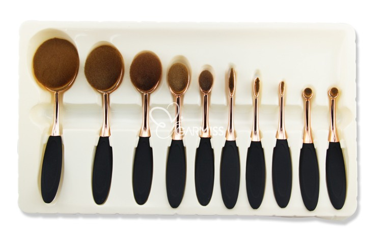 new arrival makeup brush set 2016 oval synthetic hair 10pcs gold handle oval facial brush