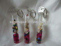 acrylic circle shape shell floaters inside glitters customs liquid key chain