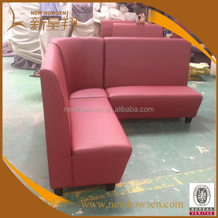 Red leather KTV/ club used customized size sofa booth