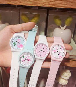 Silicone Candy Jelly Color Student Wristwatches Girls Clock Flamingo Watches Children Wristwatch Kids Quartz Watch