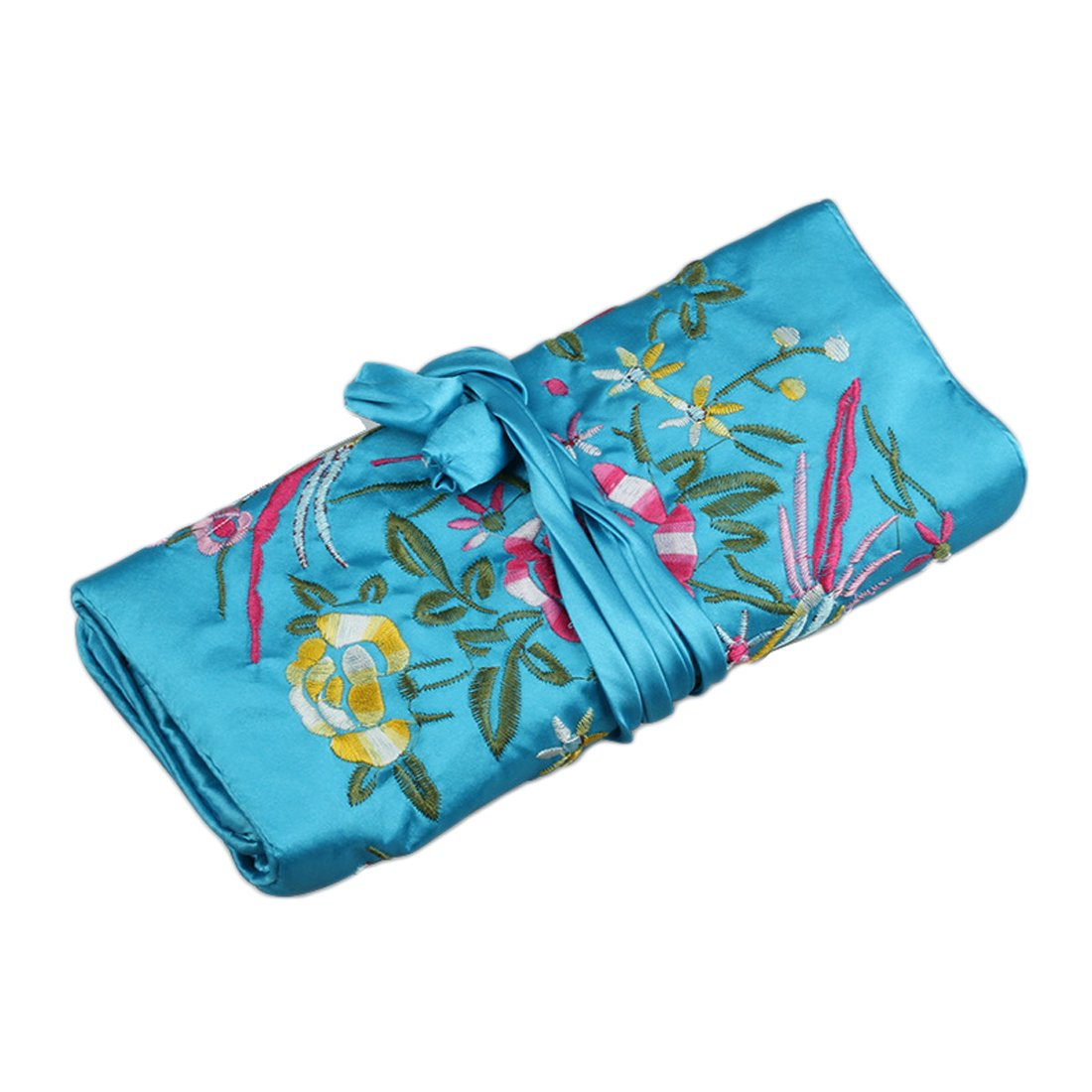 55711c323 Get Quotations · WEI LONG@Jewelry Roll, Travel Jewelry Roll Bag,Silk  Embroidery Brocade Jewelry Organizer