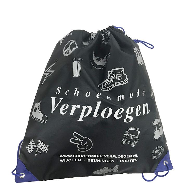 Custom cheap recycled  foldable yellow waterproof drawstring shopping polyester Sport Drawstring Gym Bag