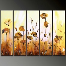 handmade home decor gold flowers group 5 panel oil painting on canvas