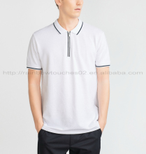 zip up color combination cotton design no button polo shirt