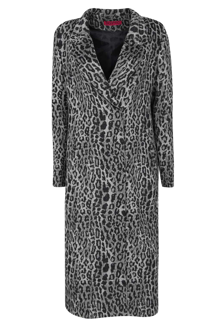7136055d6179 OEM wholesale turn down collar opening closure knee length leopard print  maxi trench coat women
