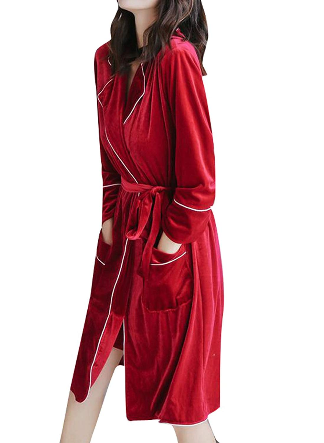 c9c4b8167d Get Quotations · Zago Womens Sexy Solid Velvet 2 Pieces Nightgowns and Robes  Pajama Sets