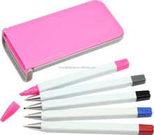 T0031 Low MOQ Multi-functional Pen and pencil set with plastic box