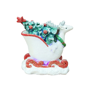 Holiday Decorative Light Resin Christmas Sleigh with Tree