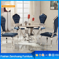 Round stainless steel dining table and chair sets