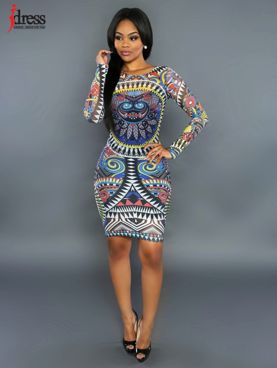 52f3a1be4 IDress 2016 Abstract African Print Dress Sexy Bodycon Dress Women Party  Clubwear Dress Cheap Clothes China ...