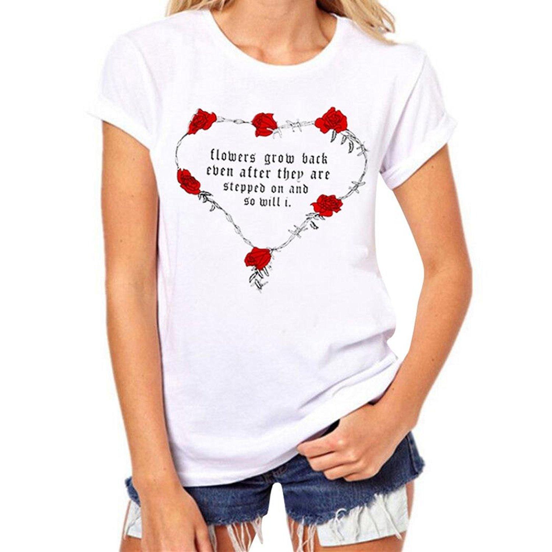 8d6b8651 Get Quotations · AmyDong Women's T-Shirt, Valentine's Day Blouse Couple T-Shirt  Women Rose Letter