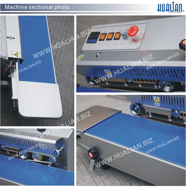 FR-770I HUALIAN good quality suitable for euro market with Stainless steel base board embossing coding band Sealer Machine