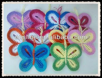 Gehaakte Vlinder Applicatiesfabrikanten Handgemaakte Kleurrijke