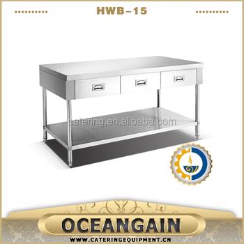 hwb15 stainless steel work bench with splashback and under shelf