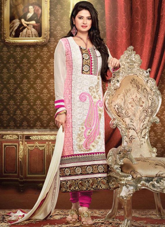 Bollywood Pakistani Indian Anarkali Salwar Kameez Suit White Aarti ...