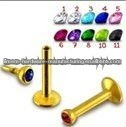 Gold plated labret piercing jewelry internal threaded