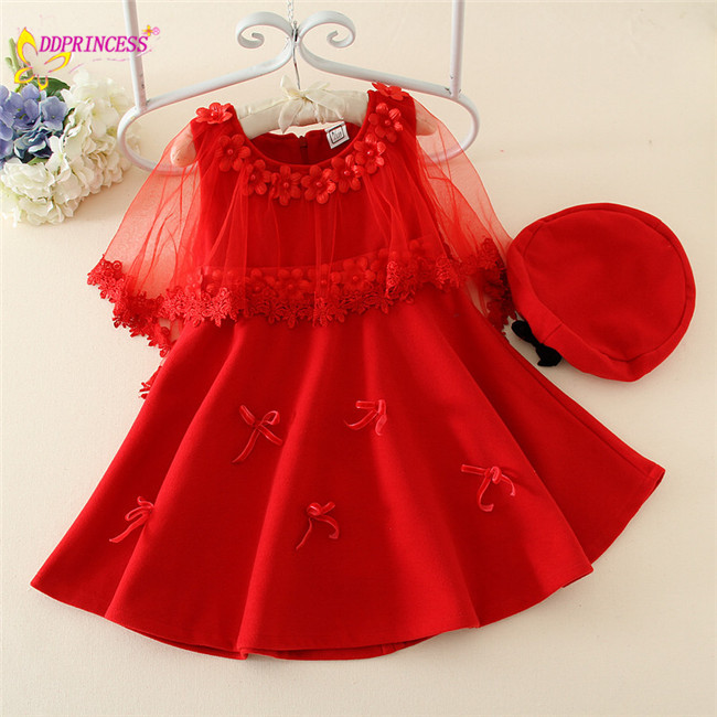 8c447a6f7 top quality baby girl woolen dress with flower children winter clothing