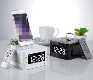 Universal Remote Control Wireless Speaker Docking Charger Station with Alarm Clock